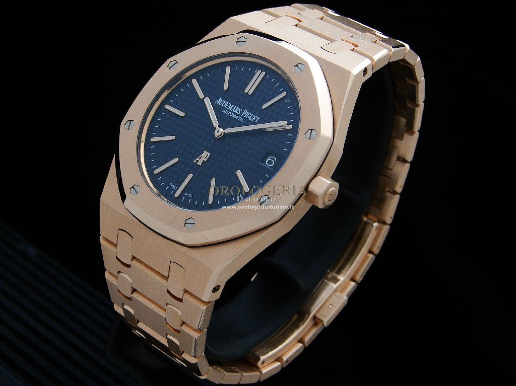 Royal Oak Jumbo Extra Piatto 39mm Oro Rosa Quadrante Blu